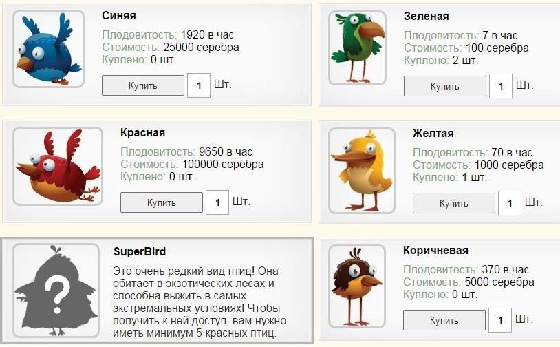 Покупка птички