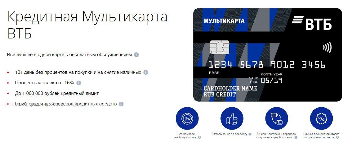 Кредитный лимит по карте ВТБ