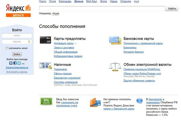 Пополнение карты через кошелек Яндекс Деньги