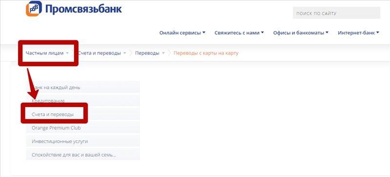 Онлайн-перевод на сайте Промсвязьбанка