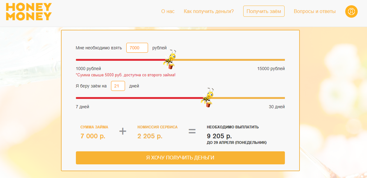HoneyMoney займ
