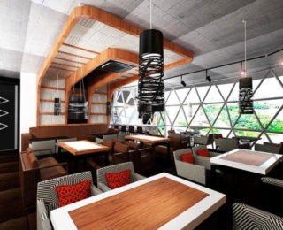 Уютное оформление суши бара
